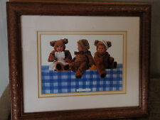 Anne Geddes babys 3 girls dress up as teddy bears on the table (Reduced
