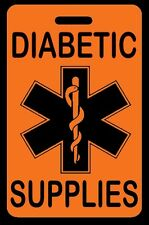 Safety Orange DIABETIC SUPPLIES Luggage/Gear Bag Tag - FREE Personalization-New