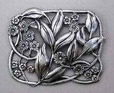 #3017 ANTIQUED SS/P OPEN RECTANGLE SHAPED FLORAL & LEAF BROOCH - 1 Pc Lot