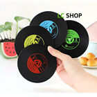 6pcs Vintage Vinyl Coasters Silicone Groovy Record Table Bar Drink Mats New 4552