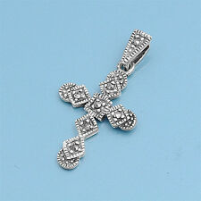 Cross with Marcasite Pendant Sterling Silver 925 Vintage Style Catholic Jewelry