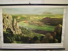 Old Lehrtafel Elbe Sandstone Mountains Vintage Deco Wall Map