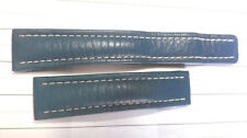 AUTHENTIC 20MM BREITLING BLUE CALF BAND STRAP FOR 18MM DEPLOYMENT -USED    #6465