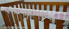 Baby Cot Crib Teething Rail Cover Pink Onesies On White - Fits Boori 100% Cotton