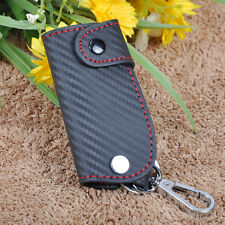 3D Leather Carbon Fiber Remote Key Case chain keyless Fob cover Holder