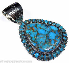 Huge Genuine Mohave Turquoise 925 Sterling Silver Southwestern Pendant Necklace