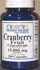 Cranberry Fruit Concentrate 15,000mg 200 Capsules 15000 mg UTI Health  Fresh!
