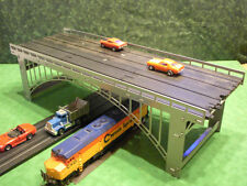 Steel HO slot car / train 4-lane bridge for most popular brands.