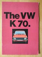 Volkswagen K70 Orig 1972 Uk Mkt folleto de ventas-Vw