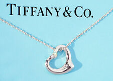 Tiffany & Co Elsa Peretti Silver 16mm Open Heart Double Diamond Pendant Necklace