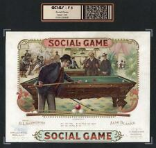 Billiards Pool c1895 - Social Game - ORIGINAL Extra RARE Cigar Box Label #6428