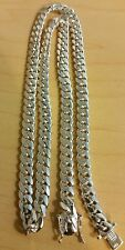"Handmade Pure Sterling Silver Miami Cuban Link Chain 25"" 8.50mm.  105 Grams"