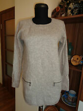 FENN WRIGHT MANSON 100% 2PLY CASHMERE GREY KNITTED JUMPER -S,8-UK