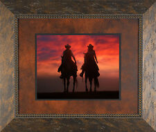 Western Cowboys Sunset Solid Wood Framed Picture James Jones Photography Print