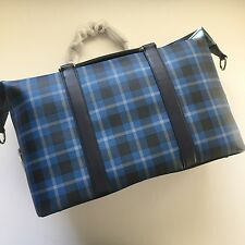 Coach Men's Black Denim Plaid Voyager Print PVC Duffle Bag Travel Carryon 55488