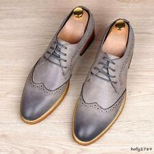 Retro England Men's Brogue Lace Wingtip Leather Dress Formal OXford Shoes Pumps