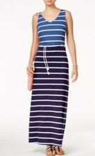 NWT TOMMY HILFIGER WOMENS 100%COTTON RAMONA STRIPED MAXI BELTED DRESS, SIZE S