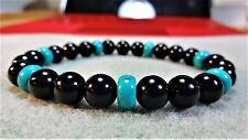 "Genuine Black Onyx & Turquoise Bead Bracelet for Men (Stretch) 8mm - 8"" inch AAA"