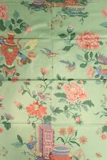 Chinoiserie Celedon Green Glazed Chintz Fabric with Flowers in Vases