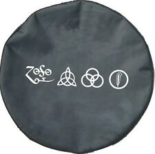 "SpareCover® Brawny Series - Led Zeppelin RUNES 32"" Black Denim Vinyl Tire Cover"