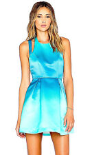 NEW NWT $220 ANTHROPOLOGIE TURQUOISE & AQUA OMBRE SATIN STRAPPY DIP-DYE DRESS S