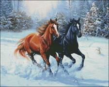 Needlework Crafts Full Embroidery DIY Counted Cross Stitch Kits Double Horse