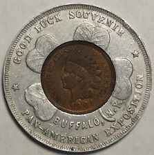 Encased Indian Cent, 1901 Pan-American Exposition, Sharp!   0428-03