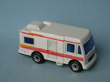 Matchbox Caravan Tourer RV White Body Pink Stripes Camping Holiday Toy Model Car