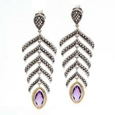 Andrea Candela 18k Gold & Sterling Amethyst Chandelier Cable Earrings ACE348-A