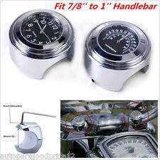 """New 7/8"""" 1"""" Motorcycle Handlebar Mount Watch Black Dial Clock & Thermometer Temp"""