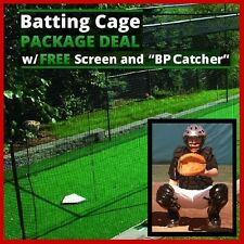 12' x 12' x 35' #36 Knotted Batting Cage Net, Frame, Free L-Screen & BP Catcher
