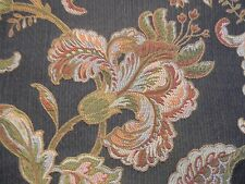 HOT! SCHUMACHER WAVERLY 6 YARDS BROWN FLORAL LAMPAS UPHOLSTERY FABRIC OUTLET
