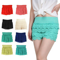 Summer Mini High Waist Shorts Women Ruffle Lace Crochet Elastic Hollow Hot Pants