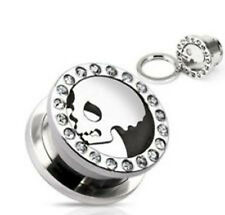 "1 PAIR 9/16"" GAUGE CLEAR CZ RIMMED STEEL SKULL PLATE TOP SCREW FIT TUNNEL PLUGS"