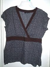 A.N.A. A New Approach Brown Graphic Babydoll S/S Top Shirt 1X ana