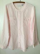 Chico's Pale Pink Long Roll Sleeve Basic Essential Button Front Shirt sz 1