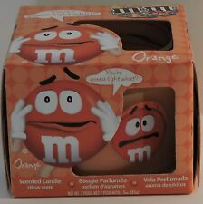 """M&M'S ORANGE """"CRISPY""""  CHARACTER LIMITED EDITION COLLECTIBLE CITRUS SCENT CANDLE"""