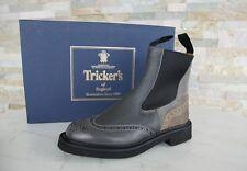 Tricker's Gr 40 7 Stivaletti Chelsea Stivali Scarpe da uomo grigio + marrone