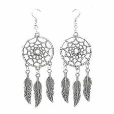 New Vintage Womens Lotus Flower Feather Long Drop Dangle Earring Silver Color