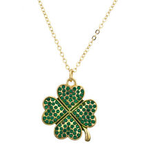Lux Accessories Pave St. Patricks Day Four Leaf Clover Shamrock Charm Necklace