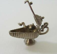 Vintage Sterling Silver  English MOVEABLE ALADDIN LAMP with GENIE Charm