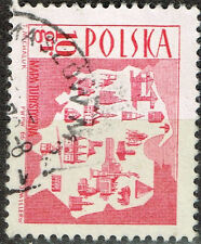 'Poland Country Map Industry stamp 1969