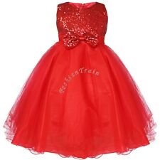 Kids Girls Baby Toddler Bow Sequin Wedding Bridesmaid Formal Party Pageant Dress