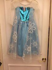 DELUXE Frozen Elsa PRINCESS Gown COSTUME  Dress Blue White Sequin Cape Kids 8