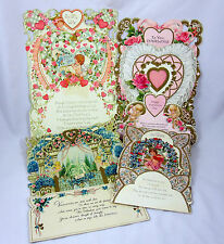 Valentine Cards Lot of 4 Vintage Large Used Unsigned Pop Up Fold Out 1967 1970s