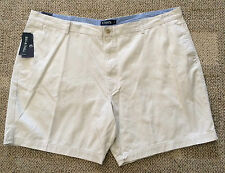 CHAPS Big Mens Size 48B Stone Beige Casual Shorts Flat Front 100% Cotton