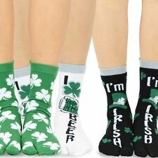 TeeHee Flip Flop Big Toe Cotton Socks for Women 3-Pairs Pack, St. Patrick's Day