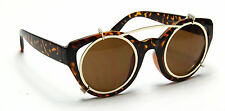 Women Designer Fashion Round Cat Eye Sunglasses Retro Vintage Gold Brown