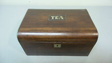 19th C. ANTIQUE ROSEWOOD TEA CADDY COMPLETE WITH  FITTED INTERIOR