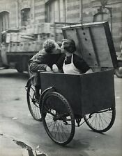 1955 Vintage 16x20 SCOOTER LOVE Young Couple Kiss France Art By ROBERT DOISNEAU